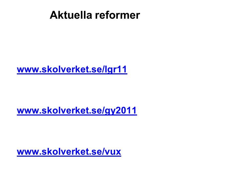 Aktuella reformer www.skolverket.se/lgr11 www.skolverket.se/gy2011 www.skolverket.se/vux