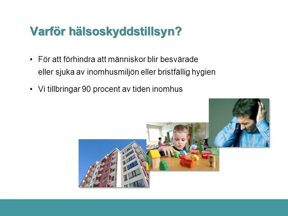 Varför hälsoskyddstillsyn? •För att förhindra att människor blir besvärade eller sjuka av inomhusmiljön eller bristfällig hygien •Vi tillbringar 90 pr