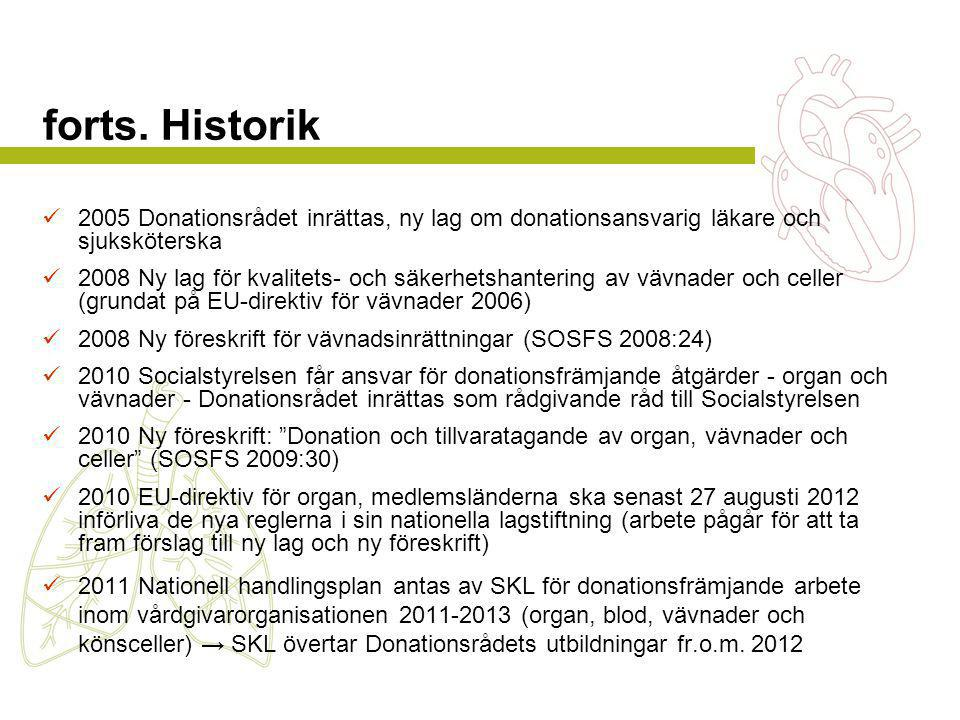forts. Historik  2005 Donationsrådet inrättas, ny lag om donationsansvarig läkare och sjuksköterska  2008 Ny lag för kvalitets- och säkerhetshanteri