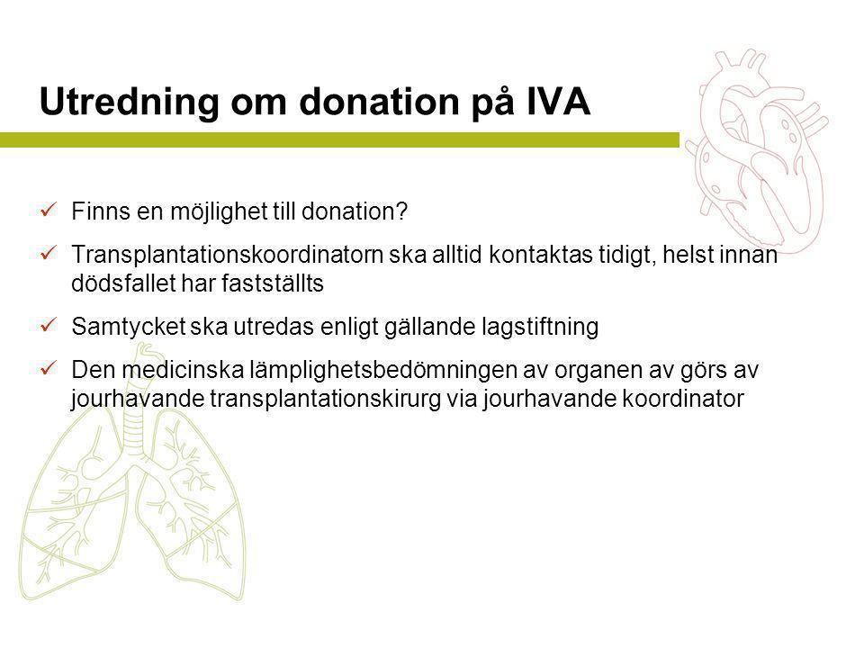 Utredning om donation på IVA  Finns en möjlighet till donation?  Transplantationskoordinatorn ska alltid kontaktas tidigt, helst innan dödsfallet ha