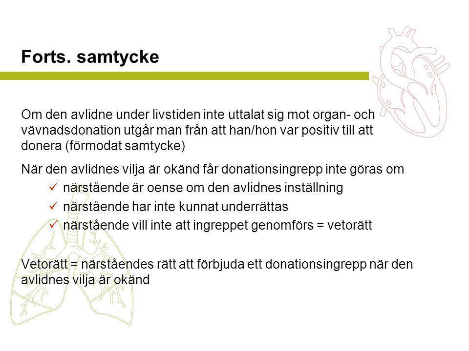 Forts. samtycke Om den avlidne under livstiden inte uttalat sig mot organ- och vävnadsdonation utgår man från att han/hon var positiv till att donera