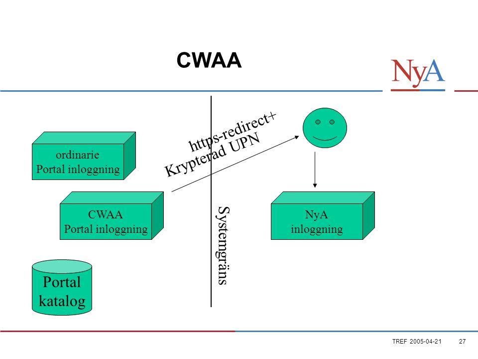 TREF 2005-04-2127 CWAA ordinarie Portal inloggning CWAA Portal inloggning Portal katalog NyA inloggning Systemgräns Krypterad UPN https-redirect+