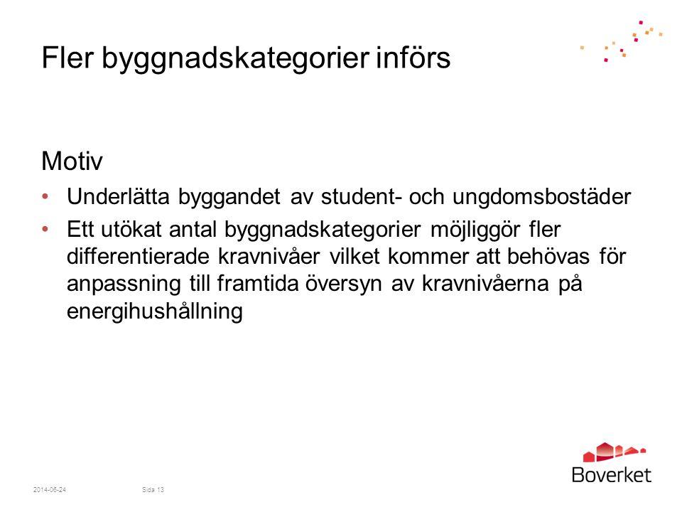 2014-06-24Sida 13 Fler byggnadskategorier införs Motiv •Underlätta byggandet av student- och ungdomsbostäder •Ett utökat antal byggnadskategorier möjl