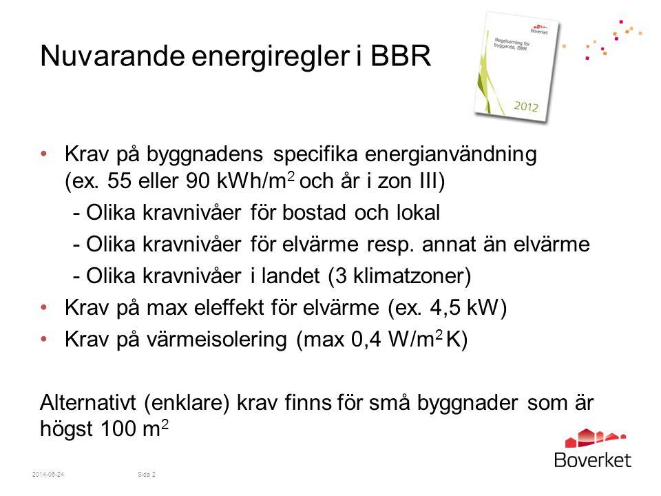 2014-06-24Sida 3 Förslag till förändringar av energi- hushållningskraven i BBR Med anledning av Student och ungdomsbostadsuppdraget •Förenklade regler för byggnader som är mindre än 50 m 2 •Anpassade regler för byggnader som är större än 50 m 2 och innehåller små lägenheter Förberedelser med anledning av uppdrag om skärpning av energikravet •Avsnitt 9:2, 9:3 och 9:4 slås samman •Fler byggnadskategorier införs •Geografiska justeringsfaktorer istället för klimatzoner