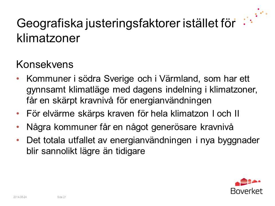 2014-06-24Sida 21 Geografiska justeringsfaktorer istället för klimatzoner Konsekvens •Kommuner i södra Sverige och i Värmland, som har ett gynnsamt kl