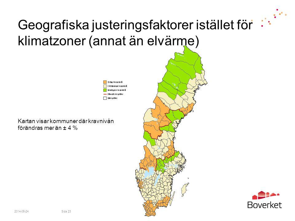 2014-06-24Sida 23 Geografiska justeringsfaktorer istället för klimatzoner (annat än elvärme) Kartan visar kommuner där kravnivån förändras mer än ± 4