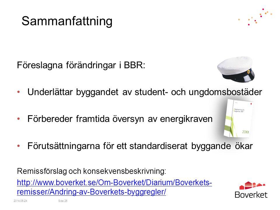 2014-06-24Sida 26 Sammanfattning Föreslagna förändringar i BBR: •Underlättar byggandet av student- och ungdomsbostäder •Förbereder framtida översyn av