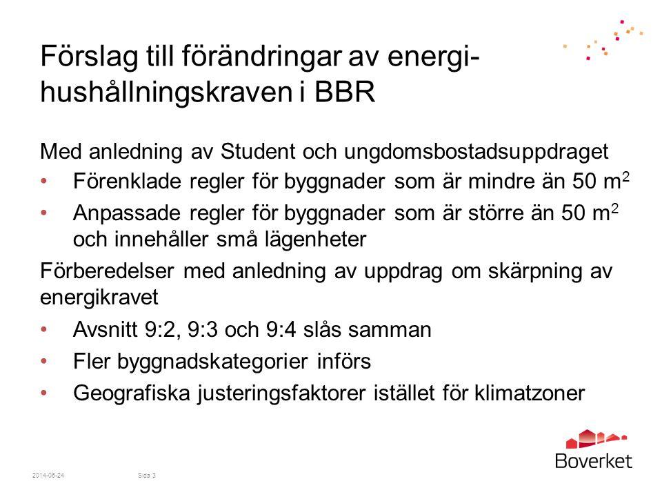 2014-06-24Sida 14 Fler byggnadskategorier införs Konsekvens •Möjliggör en framtida skärpning genom en bättre anpassning av kraven på energihushållning •Underindelning i flera byggnadskategorier medför ett mer omfattande regelverk och följer direktiv 2010/31/EU