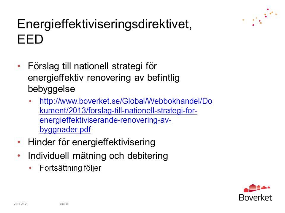 Energieffektiviseringsdirektivet, EED •Förslag till nationell strategi för energieffektiv renovering av befintlig bebyggelse •http://www.boverket.se/G