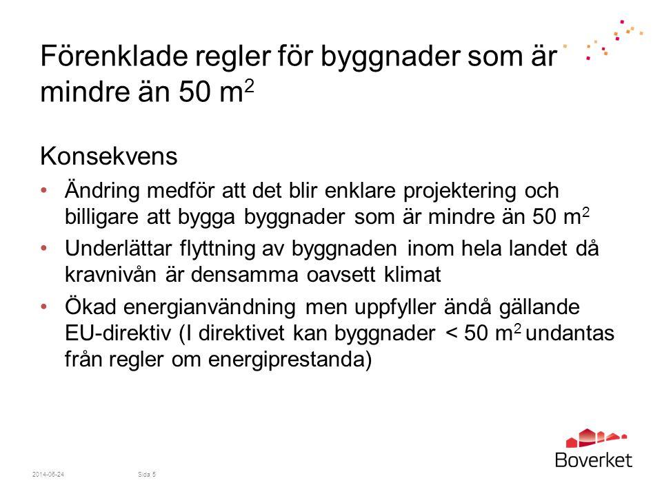 2014-06-24Sida 5 Förenklade regler för byggnader som är mindre än 50 m 2 Konsekvens •Ändring medför att det blir enklare projektering och billigare at