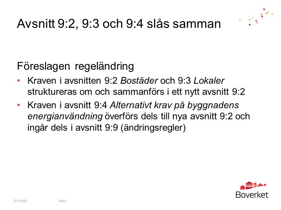 2014-06-24Sida 9 Avsnitt 9:2, 9:3 och 9:4 slås samman Föreslagen regeländring •Kraven i avsnitten 9:2 Bostäder och 9:3 Lokaler struktureras om och sam