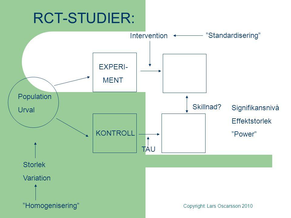 …..Medan:  RCT-studier eftersträvar en idealtypisk situation genom: - homogenicering (specifika, likartade individer/familjer) & - standardisering (kontrollerade, likformiga insatser), så är  Orsakssamband i verkliga livet – om insats A påverkar problem B hos individ/familj C - kontextberoende, dvs:  Relationen forskning – praktik här en fråga om generaliserbarheten - om och hur resultat från RCT-studier kan tillämpas i det vardagliga behandlingsarbete (jfr intern resp extern validitet) Copyright: Lars Oscarsson 2010