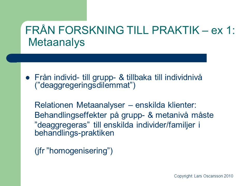 """FRÅN FORSKNING TILL PRAKTIK – ex 1: Metaanalys  Från individ- till grupp- & tillbaka till individnivå (""""deaggregeringsdilemmat"""") Relationen Metaanaly"""