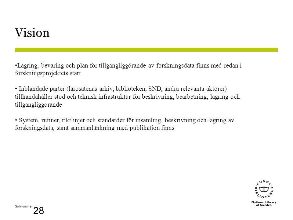 Sidnummer 28 Vision •Lagring, bevaring och plan för tillgängliggörande av forskningsdata finns med redan i forskningsprojektets start • Inblandade parter (lärosätenas arkiv, biblioteken, SND, andra relevanta aktörer) tillhandahåller stöd och teknisk infrastruktur för beskrivning, bearbetning, lagring och tillgängliggörande • System, rutiner, riktlinjer och standarder för insamling, beskrivning och lagring av forskningsdata, samt sammanlänkning med publikation finns