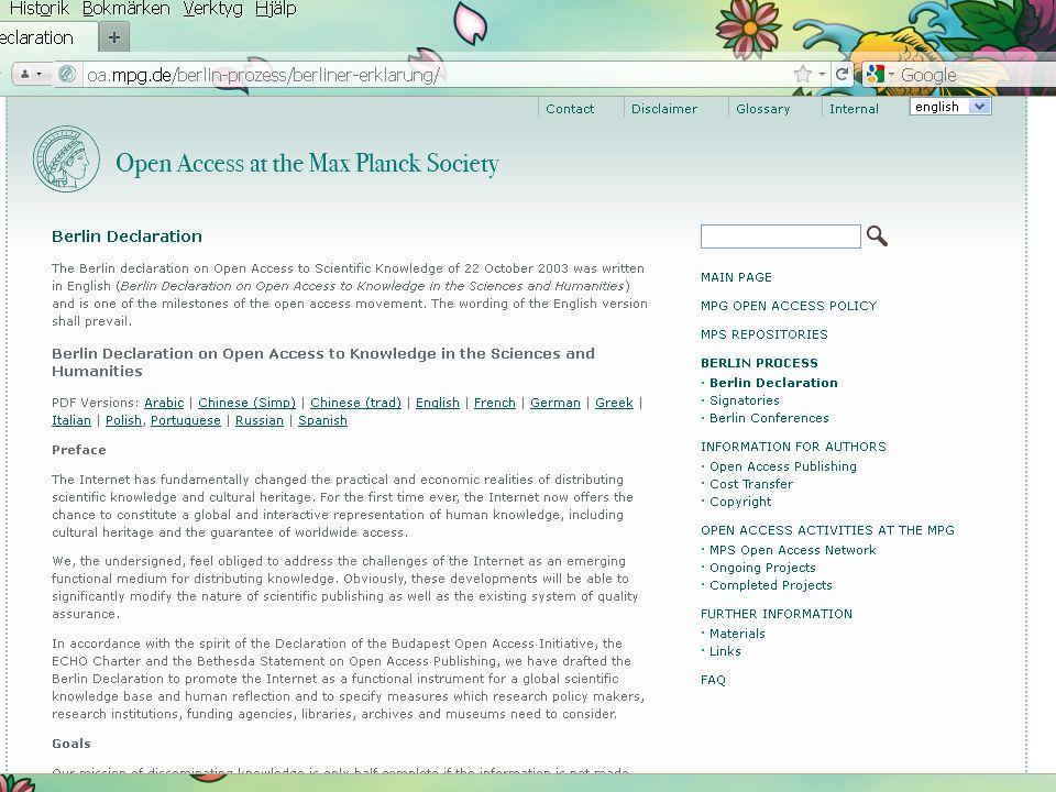 Sidnummer 8 8 Open access – framväxt av ett alternativ •En rörelse av engagerade forskare, senare även bibliotekarier, förläggare m fl, sedan ca 1990.