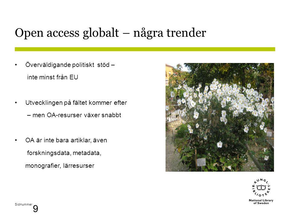 Sidnummer 9 Open access globalt – några trender •Överväldigande politiskt stöd – inte minst från EU •Utvecklingen på fältet kommer efter – men OA-resurser växer snabbt •OA är inte bara artiklar, även forskningsdata, metadata, monografier, lärresurser