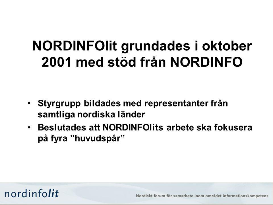 NORDINFOlit grundades i oktober 2001 med stöd från NORDINFO •Styrgrupp bildades med representanter från samtliga nordiska länder •Beslutades att NORDI