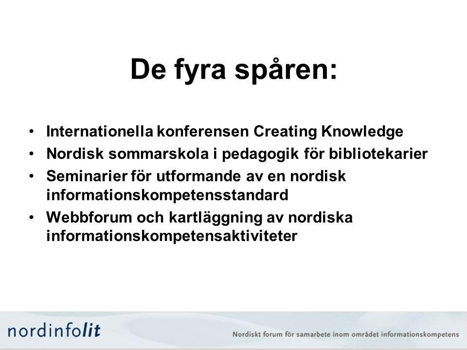 De fyra spåren: •Internationella konferensen Creating Knowledge •Nordisk sommarskola i pedagogik för bibliotekarier •Seminarier för utformande av en n