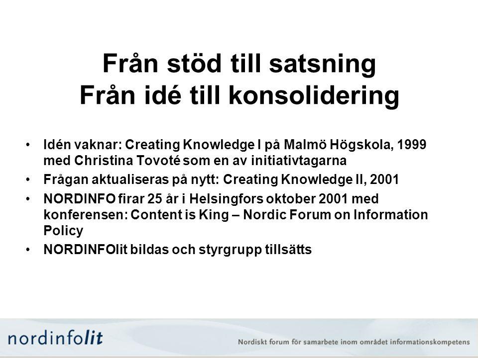 Från stöd till satsning Från idé till konsolidering •Idén vaknar: Creating Knowledge I på Malmö Högskola, 1999 med Christina Tovoté som en av initiati