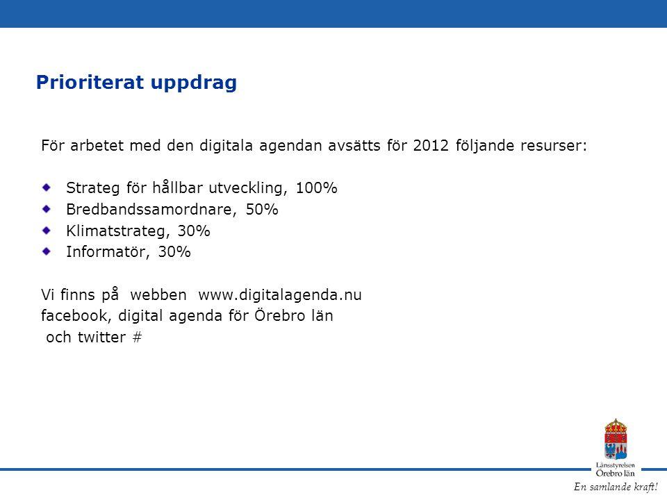 En samlande kraft! Prioriterat uppdrag För arbetet med den digitala agendan avsätts för 2012 följande resurser: Strateg för hållbar utveckling, 100% B