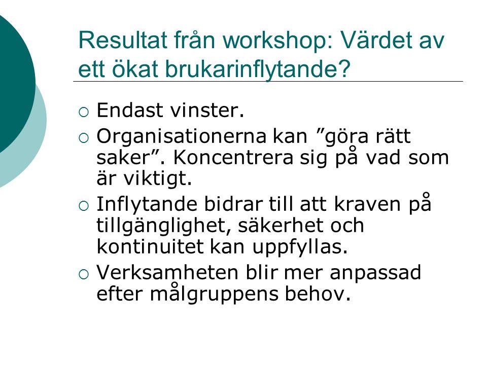 """Resultat från workshop: Värdet av ett ökat brukarinflytande?  Endast vinster.  Organisationerna kan """"göra rätt saker"""". Koncentrera sig på vad som är"""