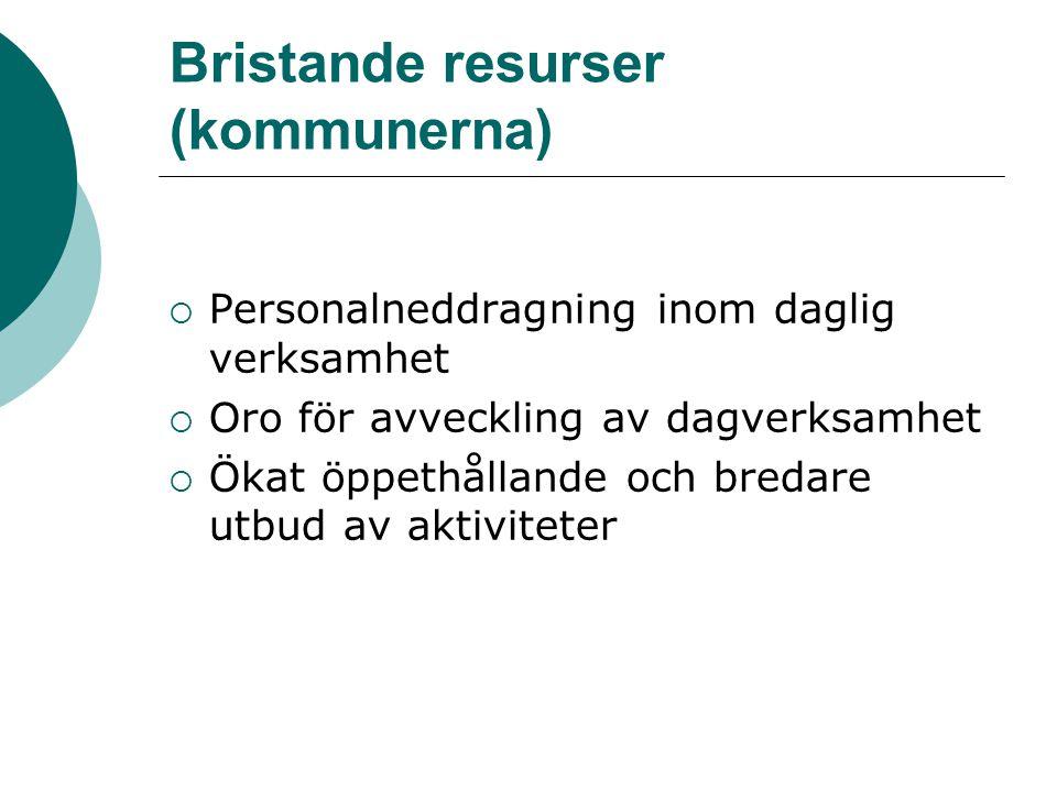 Bristande resurser (kommunerna)  Personalneddragning inom daglig verksamhet  Oro för avveckling av dagverksamhet  Ökat öppethållande och bredare ut