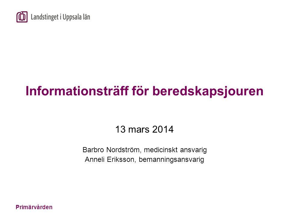 Primärvården Informationsträff för beredskapsjouren 13 mars 2014 Barbro Nordström, medicinskt ansvarig Anneli Eriksson, bemanningsansvarig