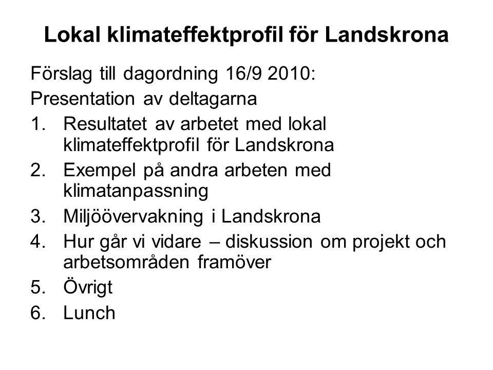 Lokal klimateffektprofil för Landskrona Förslag till dagordning 16/9 2010: Presentation av deltagarna 1.Resultatet av arbetet med lokal klimateffektpr