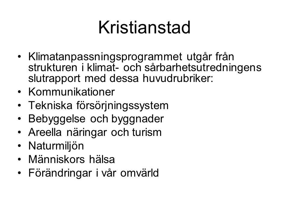 Kristianstad •Klimatanpassningsprogrammet utgår från strukturen i klimat- och sårbarhetsutredningens slutrapport med dessa huvudrubriker: •Kommunikat