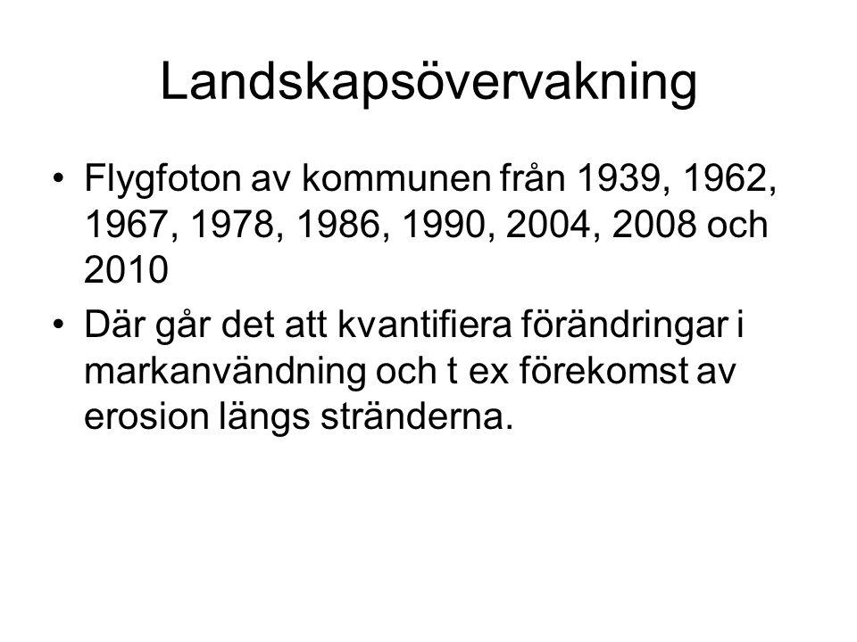 Landskapsövervakning •Flygfoton av kommunen från 1939, 1962, 1967, 1978, 1986, 1990, 2004, 2008 och 2010 •Där går det att kvantifiera förändringar i m