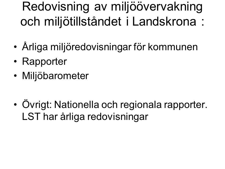 Redovisning av miljöövervakning och miljötillståndet i Landskrona : •Årliga miljöredovisningar för kommunen •Rapporter •Miljöbarometer •Övrigt: Nation