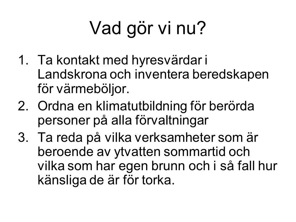 Vad gör vi nu? 1.Ta kontakt med hyresvärdar i Landskrona och inventera beredskapen för värmeböljor. 2.Ordna en klimatutbildning för berörda personer p