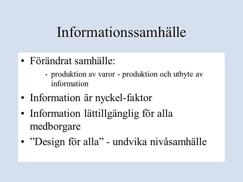 Begreppet Ett informationssamhälle för alla •Konceptet skapades 1995 •Europeiska kommissionen •Samarbetsforskningar •Målgruppen - alla möjliga användare • Var och när som helst •Tänka i nya banor - alla ta del av fördelarna