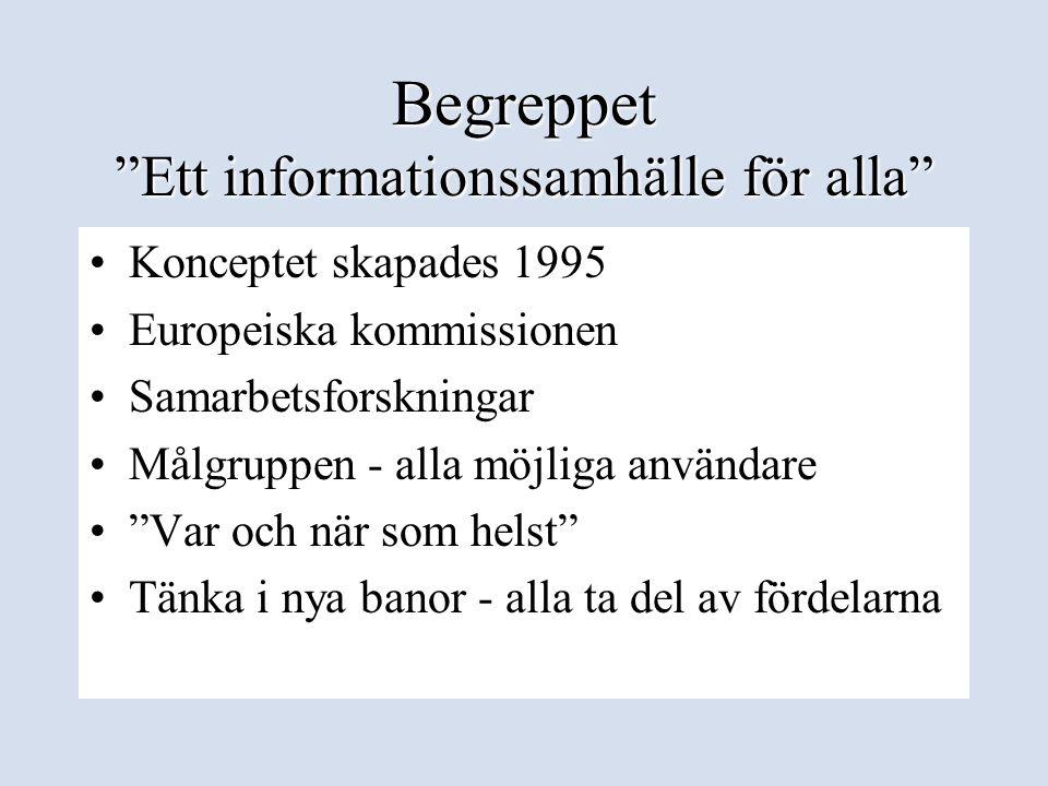"""Begreppet """"Ett informationssamhälle för alla"""" •Konceptet skapades 1995 •Europeiska kommissionen •Samarbetsforskningar •Målgruppen - alla möjliga använ"""