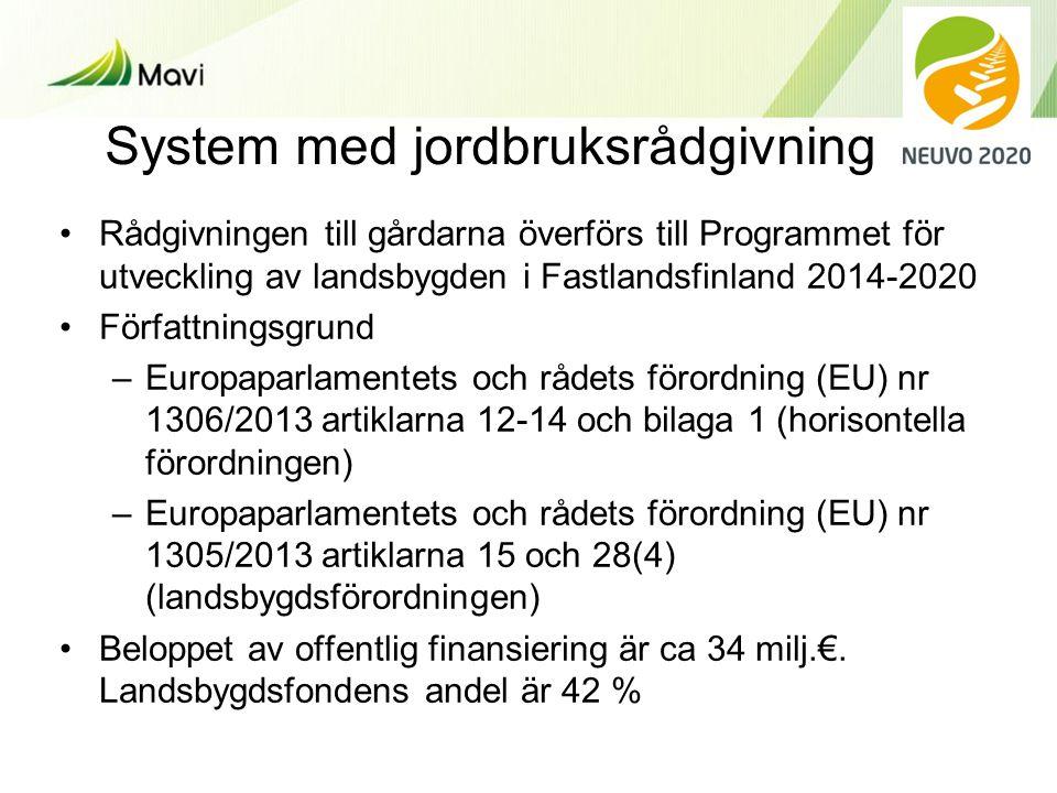 System med jordbruksrådgivning •Rådgivningen till gårdarna överförs till Programmet för utveckling av landsbygden i Fastlandsfinland 2014-2020 •Författningsgrund –Europaparlamentets och rådets förordning (EU) nr 1306/2013 artiklarna 12-14 och bilaga 1 (horisontella förordningen) –Europaparlamentets och rådets förordning (EU) nr 1305/2013 artiklarna 15 och 28(4) (landsbygdsförordningen) •Beloppet av offentlig finansiering är ca 34 milj.€.
