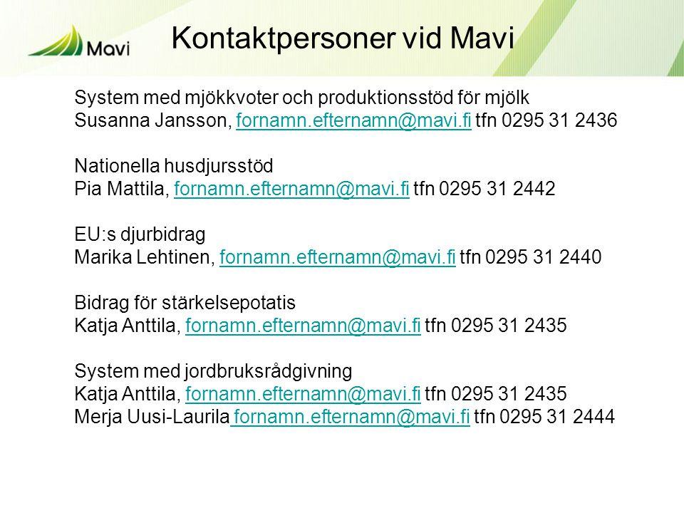 System med mjökkvoter och produktionsstöd för mjölk Susanna Jansson, fornamn.efternamn@mavi.fi tfn 0295 31 2436fornamn.efternamn@mavi.fi Nationella husdjursstöd Pia Mattila, fornamn.efternamn@mavi.fi tfn 0295 31 2442fornamn.efternamn@mavi.fi EU:s djurbidrag Marika Lehtinen, fornamn.efternamn@mavi.fi tfn 0295 31 2440fornamn.efternamn@mavi.fi Bidrag för stärkelsepotatis Katja Anttila, fornamn.efternamn@mavi.fi tfn 0295 31 2435fornamn.efternamn@mavi.fi System med jordbruksrådgivning Katja Anttila, fornamn.efternamn@mavi.fi tfn 0295 31 2435fornamn.efternamn@mavi.fi Merja Uusi-Laurila fornamn.efternamn@mavi.fi tfn 0295 31 2444 fornamn.efternamn@mavi.fi Kontaktpersoner vid Mavi