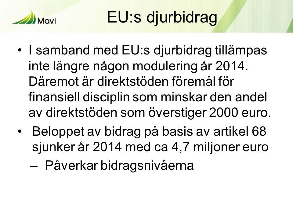 EU:s djurbidrag •I samband med EU:s djurbidrag tillämpas inte längre någon modulering år 2014.