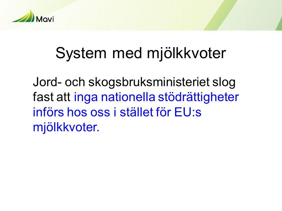 System med mjölkkvoter Jord- och skogsbruksministeriet slog fast att inga nationella stödrättigheter införs hos oss i stället för EU:s mjölkkvoter.