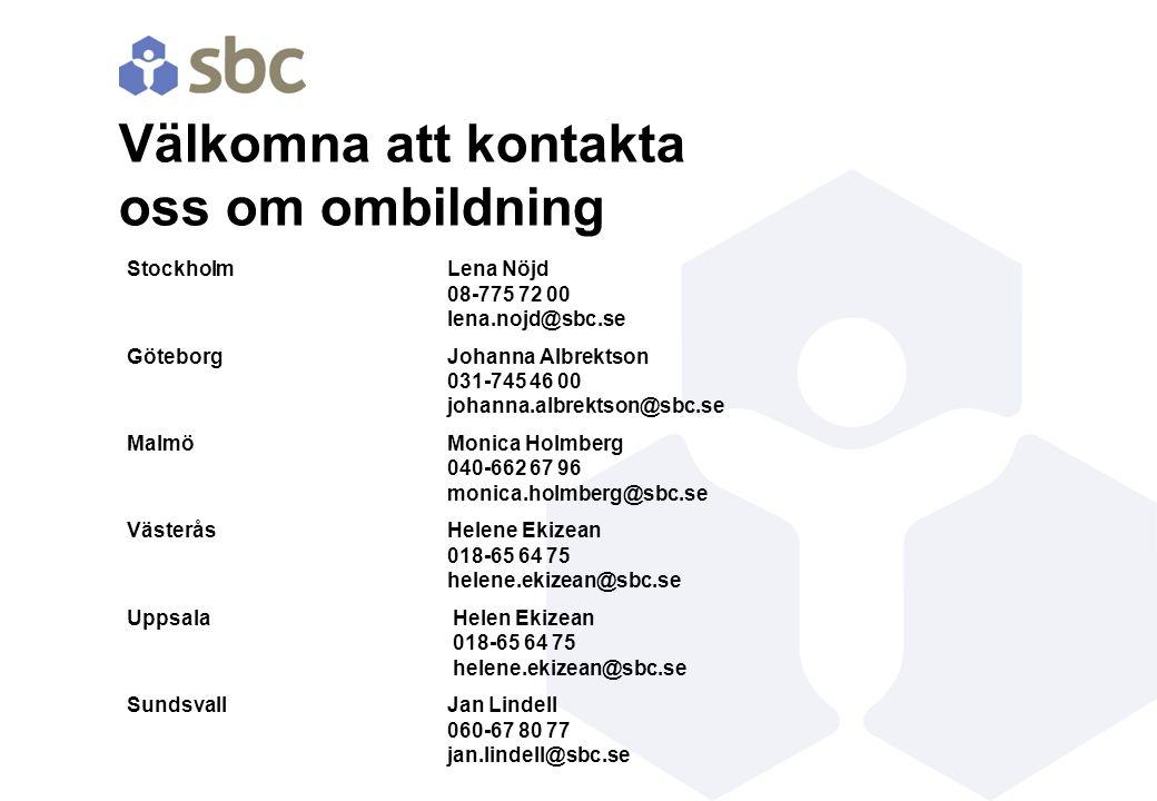 Välkomna att kontakta oss om ombildning StockholmLena Nöjd 08-775 72 00 lena.nojd@sbc.se GöteborgJohanna Albrektson 031-745 46 00 johanna.albrektson@s
