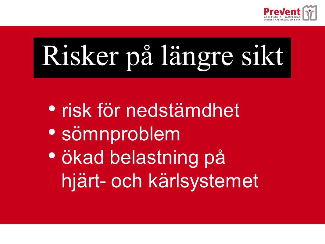 • risk för nedstämdhet • sömnproblem • ökad belastning på hjärt- och kärlsystemet Risker på längre sikt