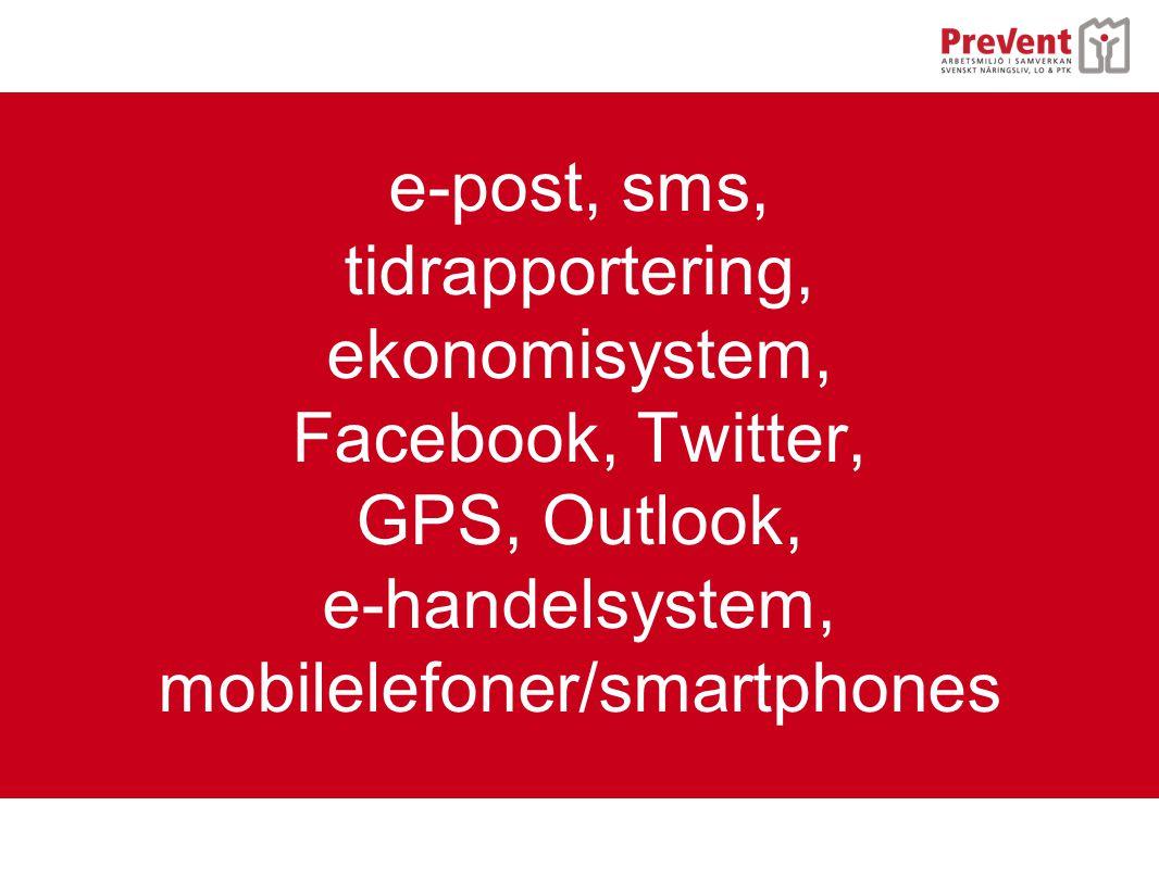e-post, sms, tidrapportering, ekonomisystem, Facebook, Twitter, GPS, Outlook, e-handelsystem, mobilelefoner/smartphones
