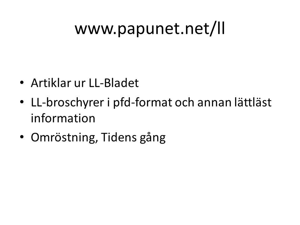 www.papunet.net/ll • Artiklar ur LL-Bladet • LL-broschyrer i pfd-format och annan lättläst information • Omröstning, Tidens gång