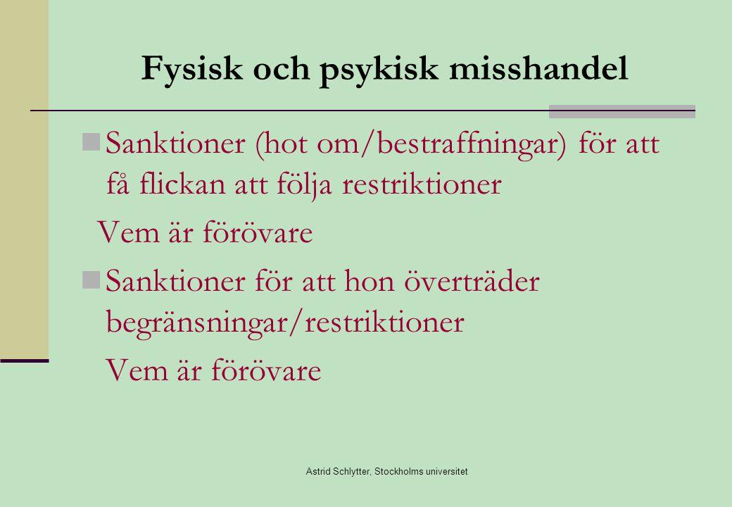 Astrid Schlytter, Stockholms universitet Fysisk och psykisk misshandel  Sanktioner (hot om/bestraffningar) för att få flickan att följa restriktioner Vem är förövare  Sanktioner för att hon överträder begränsningar/restriktioner Vem är förövare