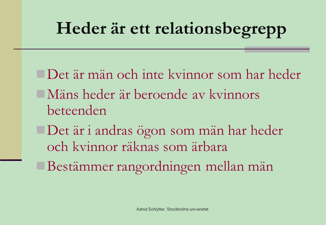 Astrid Schlytter, Stockholms universitet Heder är ett relationsbegrepp  Det är män och inte kvinnor som har heder  Mäns heder är beroende av kvinnors beteenden  Det är i andras ögon som män har heder och kvinnor räknas som ärbara  Bestämmer rangordningen mellan män