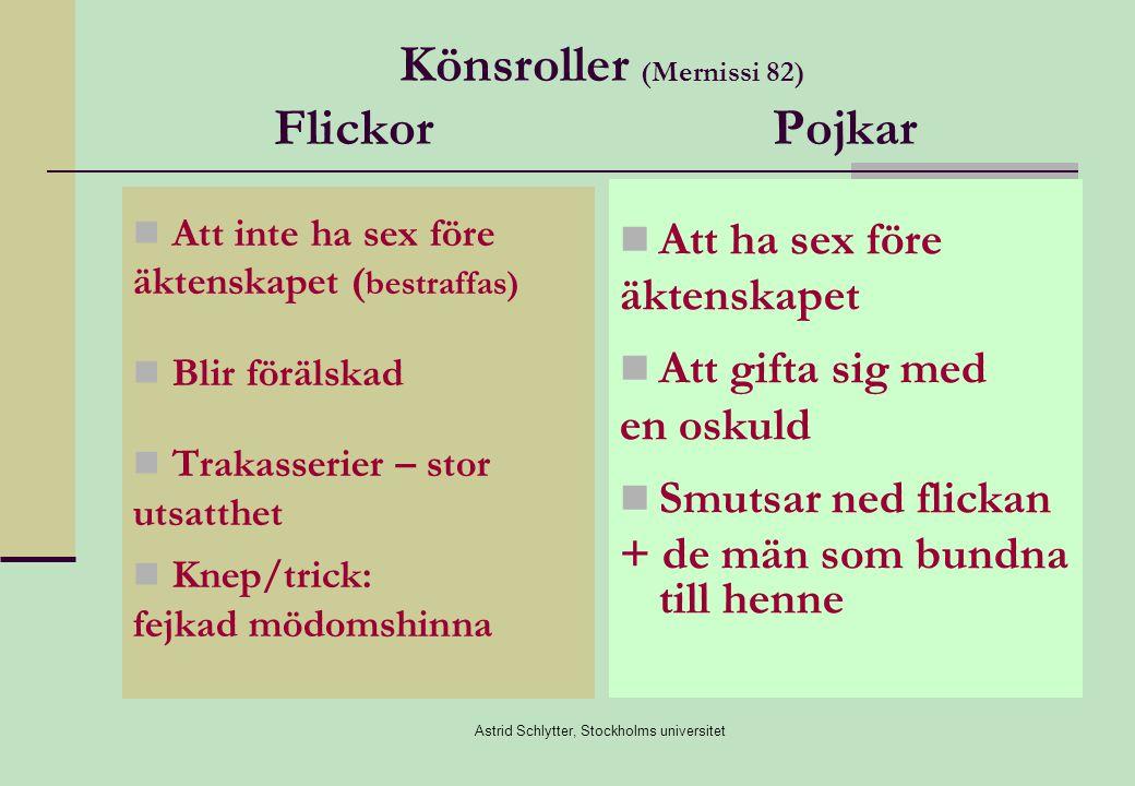 Astrid Schlytter, Stockholms universitet Heder i det moderna samhället Flickans villkor inte de samma som i föräldrarnas hemland