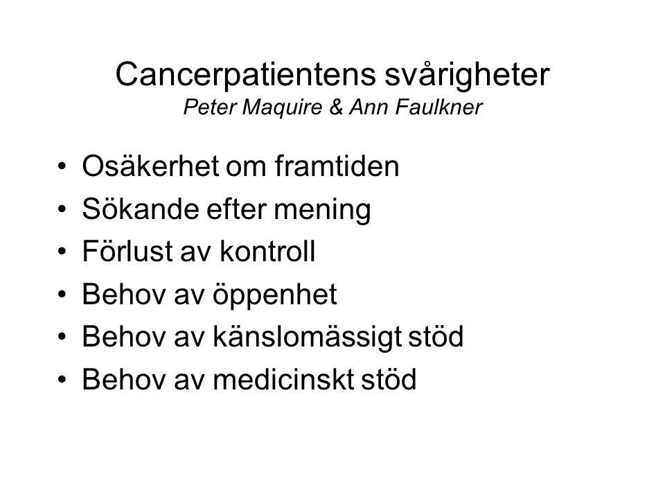Cancerpatientens svårigheter Peter Maquire & Ann Faulkner •Osäkerhet om framtiden •Sökande efter mening •Förlust av kontroll •Behov av öppenhet •Behov