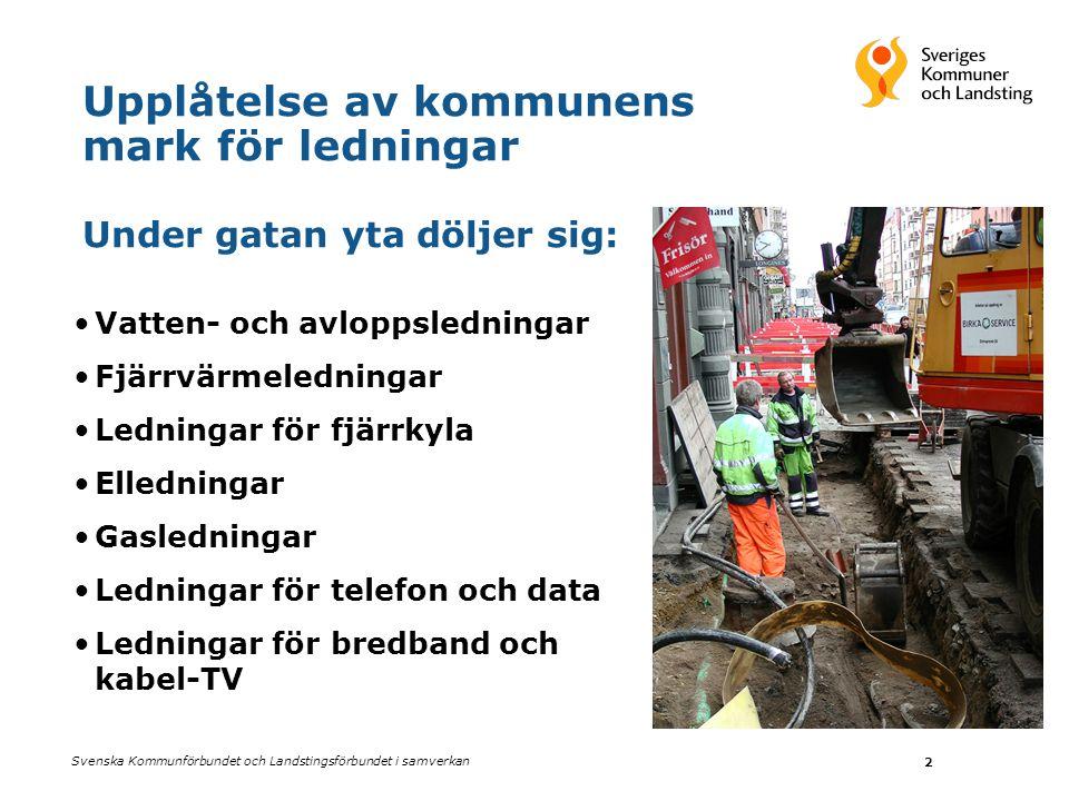 Svenska Kommunförbundet och Landstingsförbundet i samverkan 2 Upplåtelse av kommunens mark för ledningar Under gatan yta döljer sig: •Vatten- och avlo