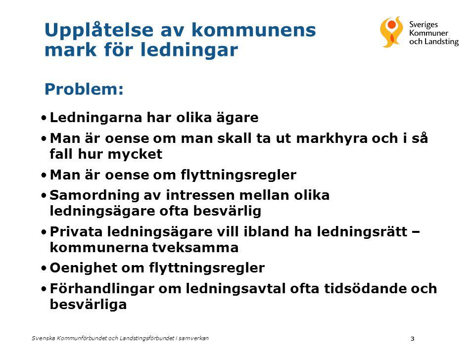 Svenska Kommunförbundet och Landstingsförbundet i samverkan 3 Upplåtelse av kommunens mark för ledningar Problem: •Ledningarna har olika ägare •Man är