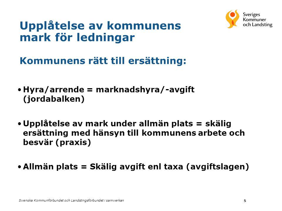Svenska Kommunförbundet och Landstingsförbundet i samverkan 5 Upplåtelse av kommunens mark för ledningar Kommunens rätt till ersättning: •Hyra/arrende
