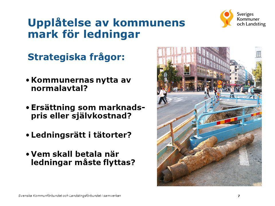 Svenska Kommunförbundet och Landstingsförbundet i samverkan 7 Upplåtelse av kommunens mark för ledningar Strategiska frågor: •Kommunernas nytta av nor